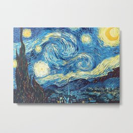 Vincent Van Gogh Starry Night Painting blue and yellow sky Metal Print