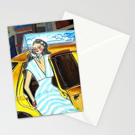 Yellow Cab at Time Square – Original Fashion art, Fashion Illustration, Fashion wall art Stationery Cards