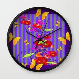 GOLDEN BUTTERFLIES &  RED FLOWER GARDEN Wall Clock
