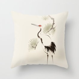 Oriental Red-Crowned Crane 002 Throw Pillow