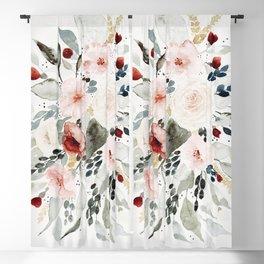 Loose Watercolor Bouquet Blackout Curtain