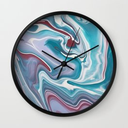 Abstract Marble Blue and Red Wall Clock