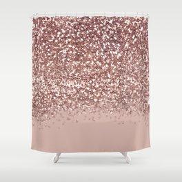 Glam Rose Gold Pink Glitter Gradient Sparkles Shower Curtain