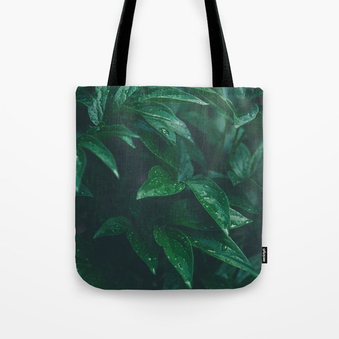 Green Leaves with Water Droplet - Nature Photography Tote Bag