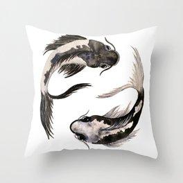 Yin Yang Koi Throw Pillow