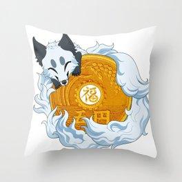 Lucky fox coin (white) Throw Pillow