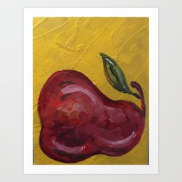 Red Pear Yellow Art Print