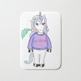 go vegan unicorn Bath Mat