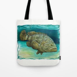 """""""Goliath Grouper"""" by Amber Marine ~ Watercolor Painting, (Copyright 2015) Tote Bag"""