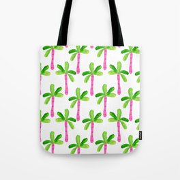 Watercolor Palm Trees in Pink Tote Bag