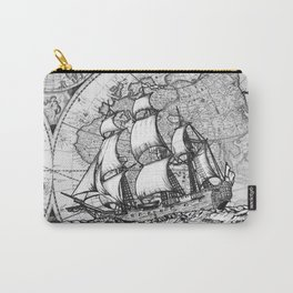 ship on a background map .  keep moving forward ( https://society6.com/vickonskey/collection ) Carry-All Pouch