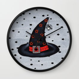 Black Witch Hat Silver Buckle Black Stars Cute Dangling Spider Wall Clock
