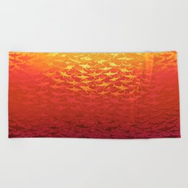 Sharks At Sunset Beach Towel