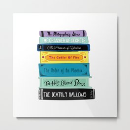 Hogwarts Stack of Wizardly Books Metal Print