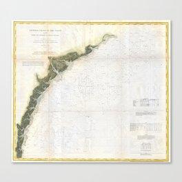Vintage Georgia & South Carolina Coastline (1874) Canvas Print