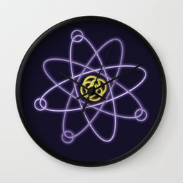 Gold and Silver Atomic Structure Wall Clock