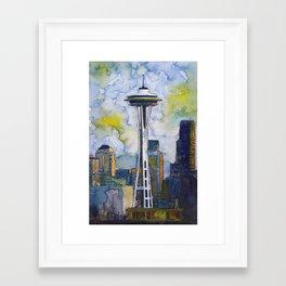 "Seattle Washington Fine Art Watercolor Painting ""Seattle Space Needle"" Framed Art Print"