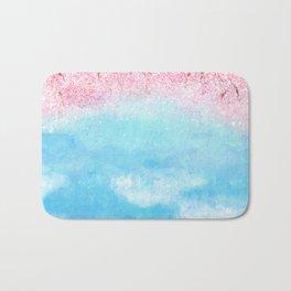 watercolor light blue sky pink glitters Bath Mat