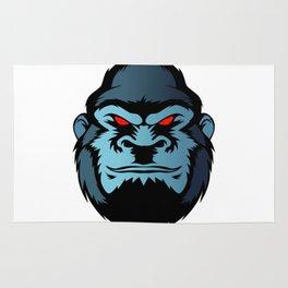 blue gorilla head Rug