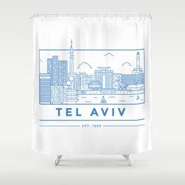 Tel Aviv line art Shower Curtain