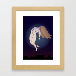 A flying witch Framed Art Print