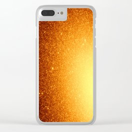 Golden Sun Stars Clear iPhone Case