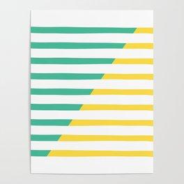Beach Stripes Green Yellow Poster