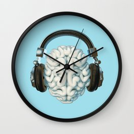 Mind Music Connection /3D render of human brain wearing headphones Wall Clock