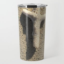 Cross in the Sand with Sea Glass Travel Mug