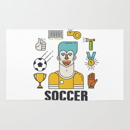 Soccer (football) player with sports elements Rug