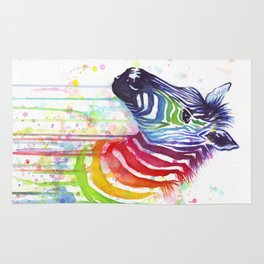 Zebra Watercolor Rainbow Animal Painting Ode to Fruit Stripes Rug
