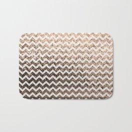 Glitter Sparkly Bling Chevron Pattern (champagne) Bath Mat