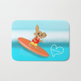 Easter Bunny Goes Surfing Bath Mat