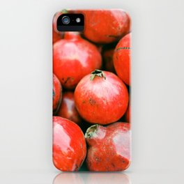 Red pomegranates on a fruit cart in Marrakech Morocco | Colorful travel food photography iPhone Case