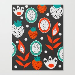Strawberries and citrus fruits at night Canvas Print