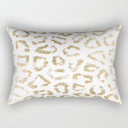 Modern white chic faux gold foil leopard print Rectangular Pillow
