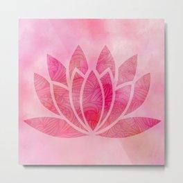 Zen Watercolor Lotus Flower Yoga Symbol Metal Print