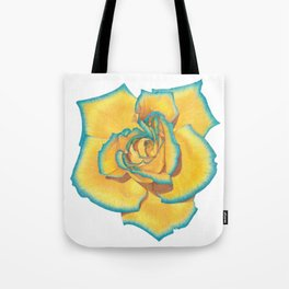 Yellow and Turquoise Rose Tote Bag