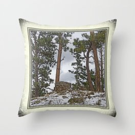 PINES ON ROCKY SNOW Throw Pillow