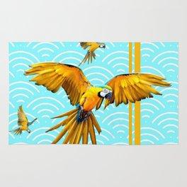 MODERN  AQUA BLUE & GOLD TROPICAL MACAWS IN FLIGHT Rug