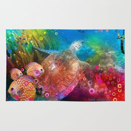 Sea Turtle In Living Color Rug