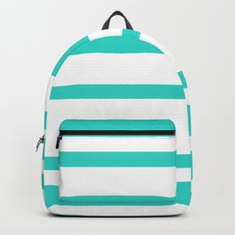 Mixed Horizontal Stripes - White and Turquoise Backpack