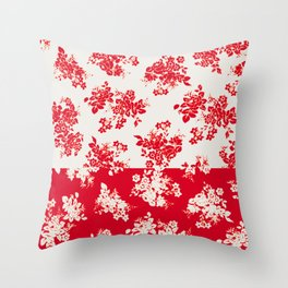 small bouquets in bright red with border Throw Pillow