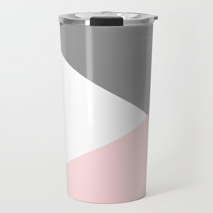 Geometrics - grey blush silver Travel Mug