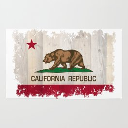 California Republic state flag - distressed edges on spruce planks Rug