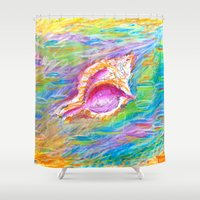 seashell Shower Curtains featuring summer seashell by Tereza Del Pilar