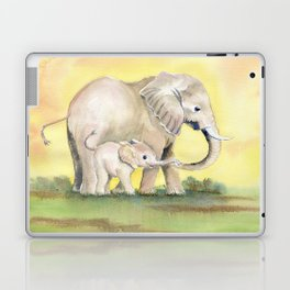 Colorful Mom and Baby Elephant 2 Laptop & iPad Skin