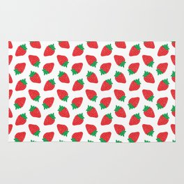 Cream Strawberries Pattern Rug