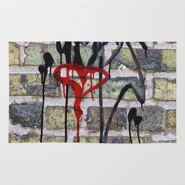 Modern Urban Grunge Dripping Red Heart Graffiti Brick Wall Rug