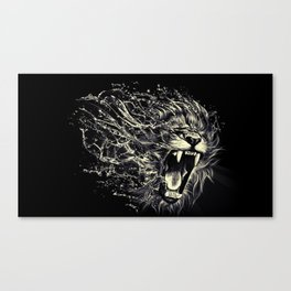 Water black and white lion Canvas Print
